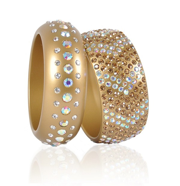 'Ying & Yang' Mistress Rocks Gold Crystal Embellished Bangles