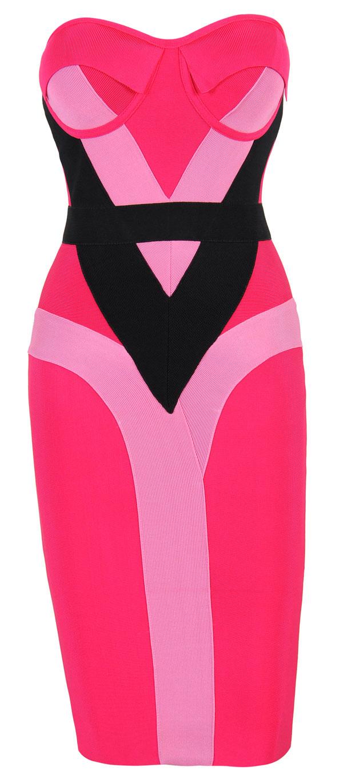 Clothing : Bandage Dresses : 'Alexandria' Hot Pink & Black ...
