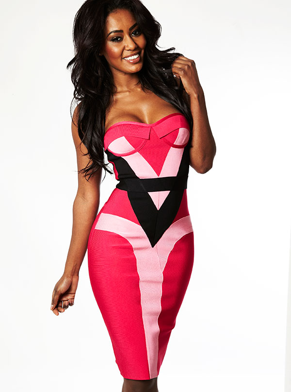 Clothing : Bandage Dresses : 'Alexandria' Hot Pink & Black ...