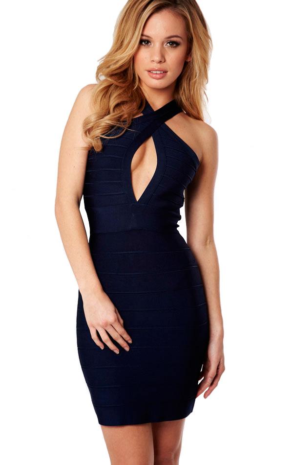 Clothing : Bandage Dresses : 'Emmanuel' Navy Open Bust Bandage Dress