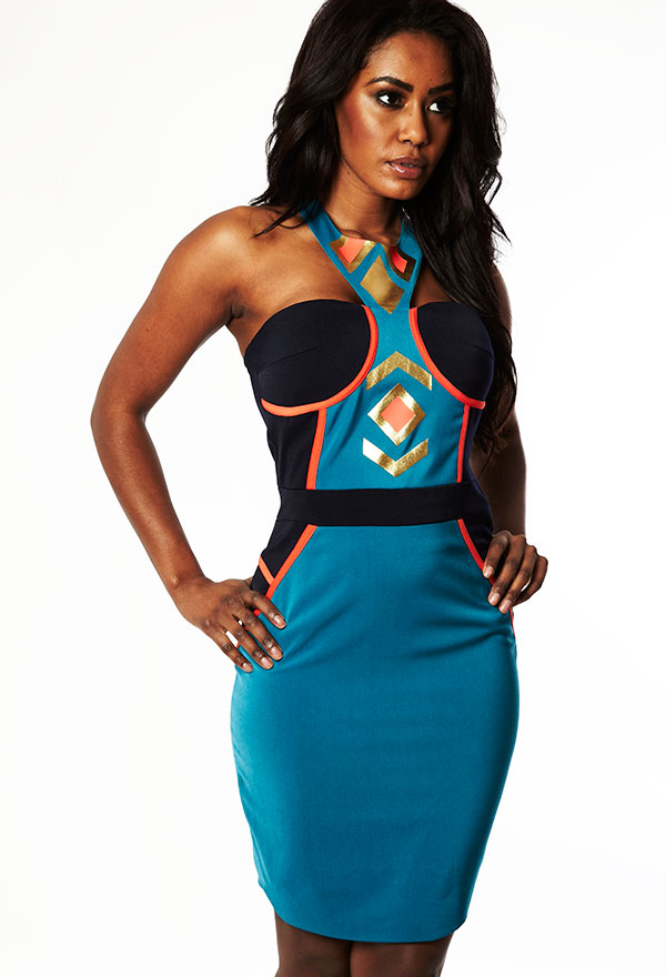 Teal and gold bodycon dress