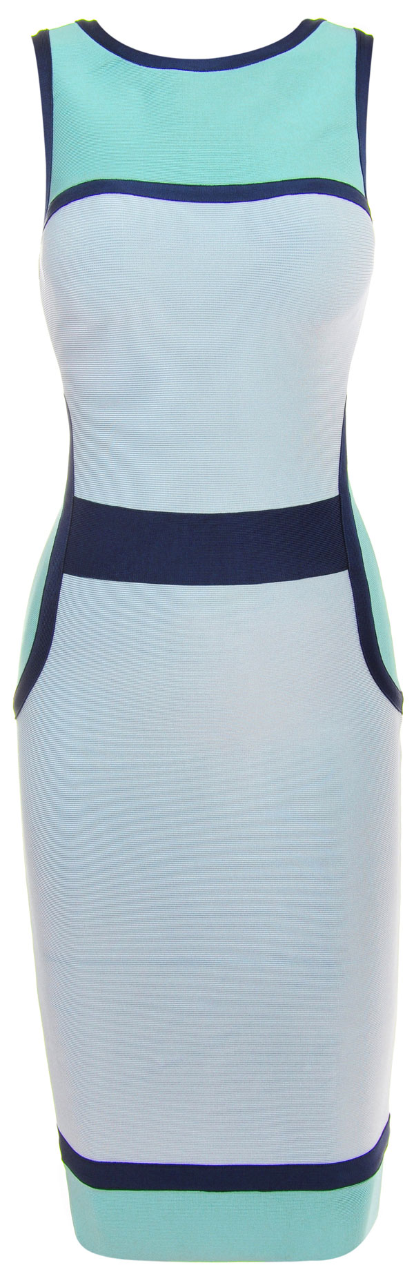 Blue and White Colorblock Pencil Bandage Dress