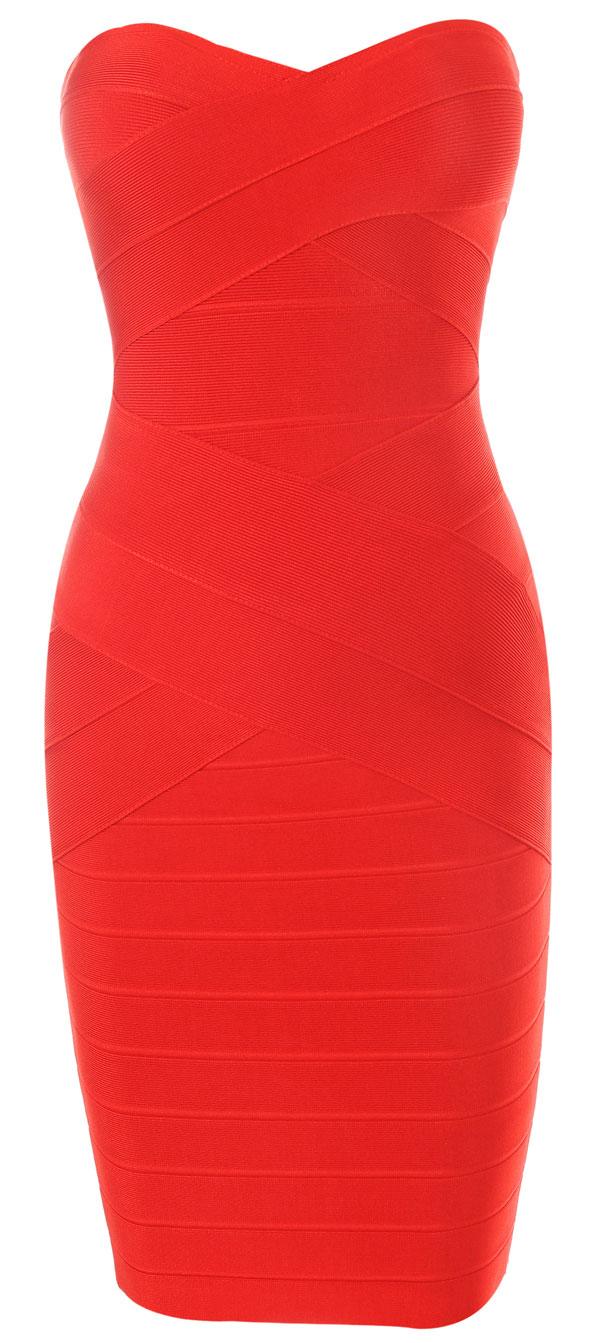 Clothing : Bandage Dresses : 'Leyla' Red Strapless Bandage Dress