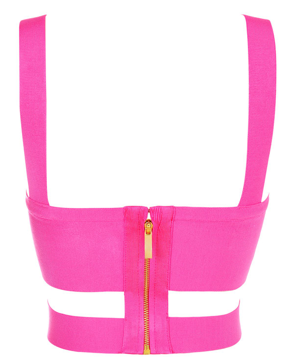 Clothing Tops Melissa Hot Pink Bandage Crop Top