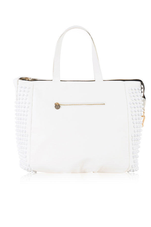 Accessories :'White Rider' Cool Contemporary Studded Tote Bag