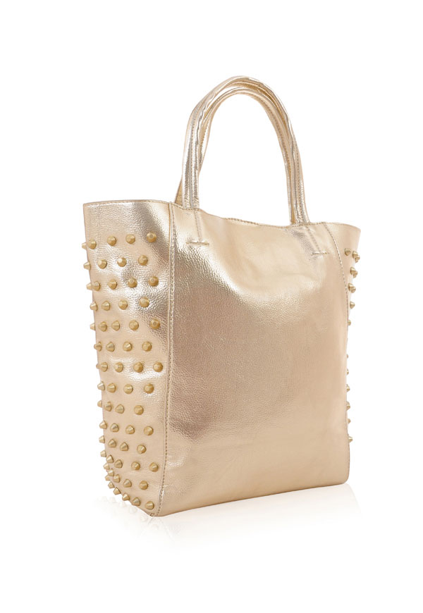 Accessories : 'B.Gorgeous' Metallic Gold Studded Tote Bag