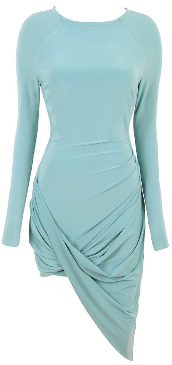 Blue Grey Draped Dress Melissa Gorga