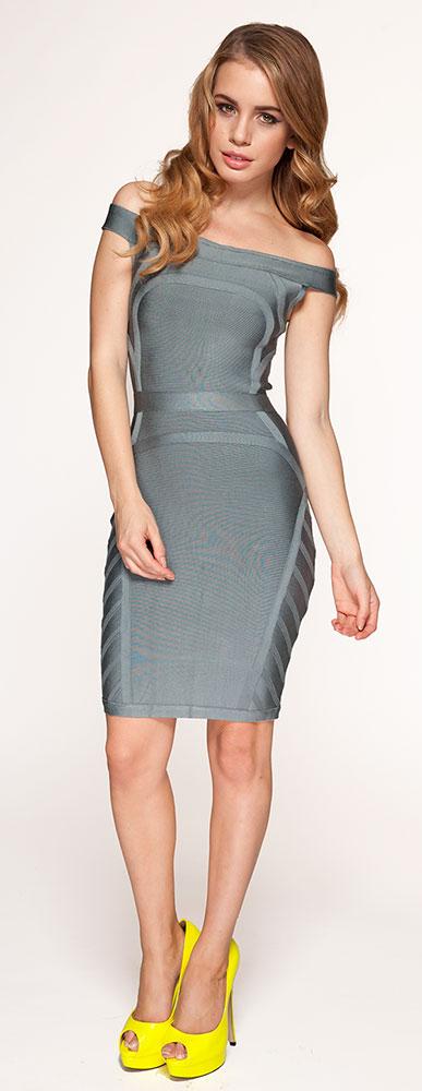 Clothing : Bandage Dresses : 'Frankie' Grey Off The Shoulder ...