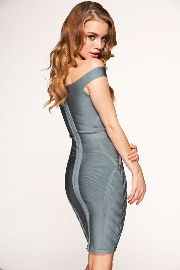 Clothing : Bandage Dresses : 'Frankie' Grey Off The Shoulder ...