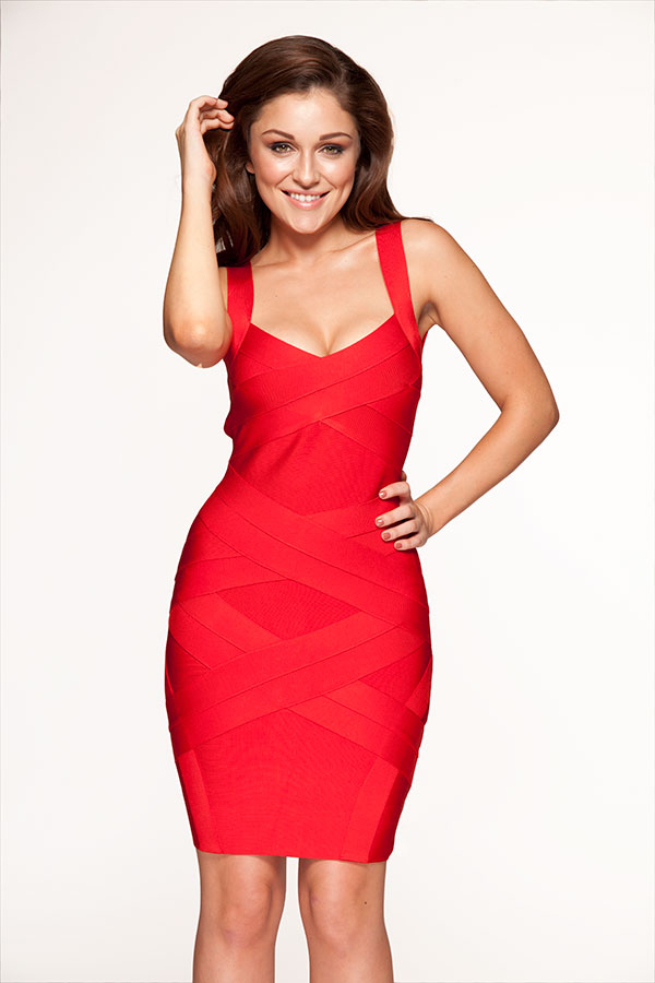 Clothing : Bandage Dresses : 'Jennifer' Cross Back Red Bandage Dress