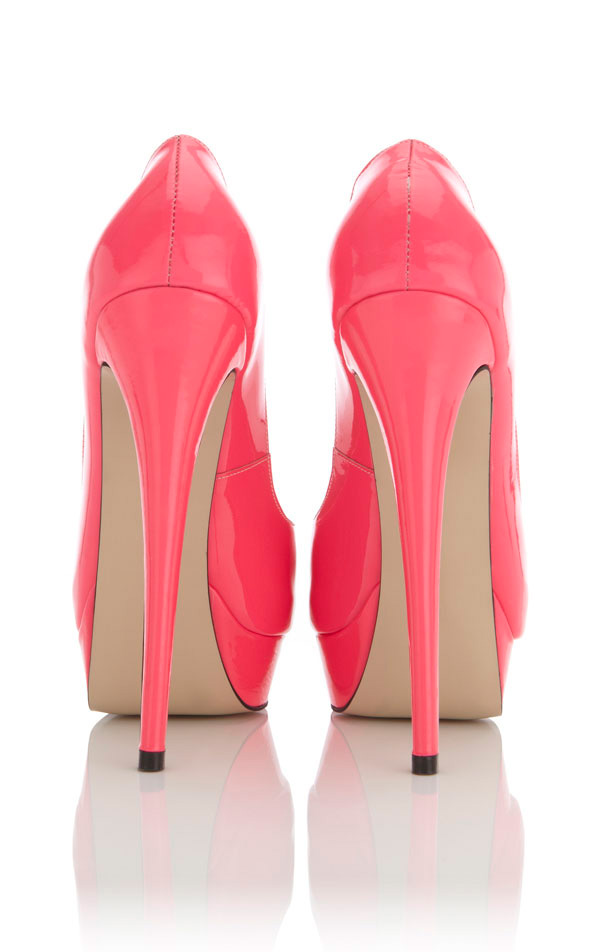 Shoes : &39L.A&39 Hot Pink Peep-Toe Leather High Heeled Pumps