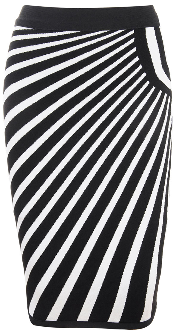 Clothing : Skirts :'Joni' Black and White Assymetric Striped ...