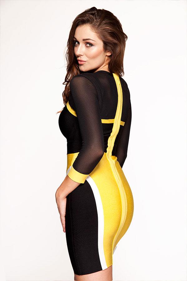Clothing : Bandage Dresses : &39Bree&39 Yellow &amp Black Mesh Bandage Dress