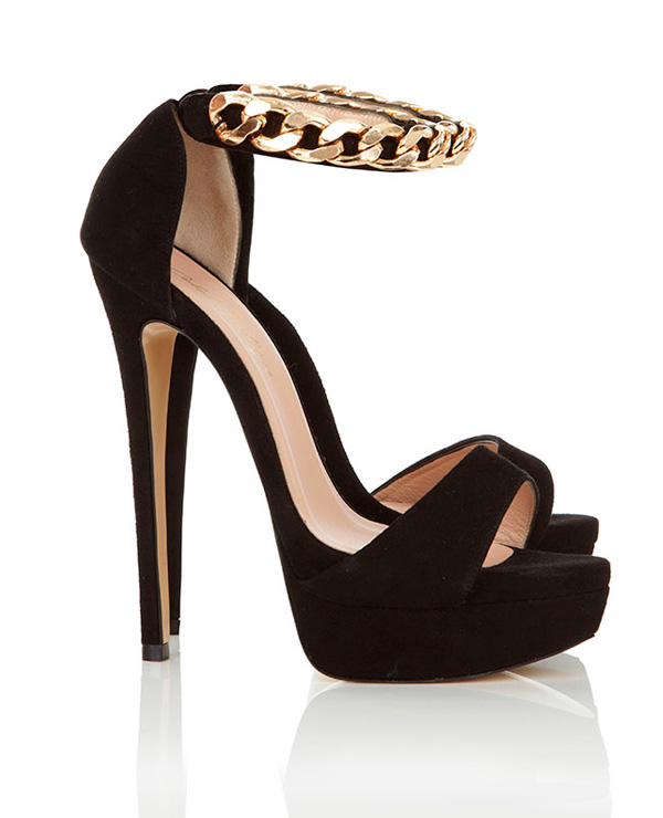 Shoes : &39Nena&39 Gold Chain Black Suede Heels