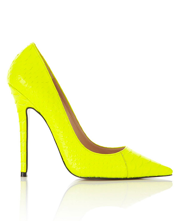 Heels : 'Paris' Neon Yellow Faux Snakeskin Point Toe Heels