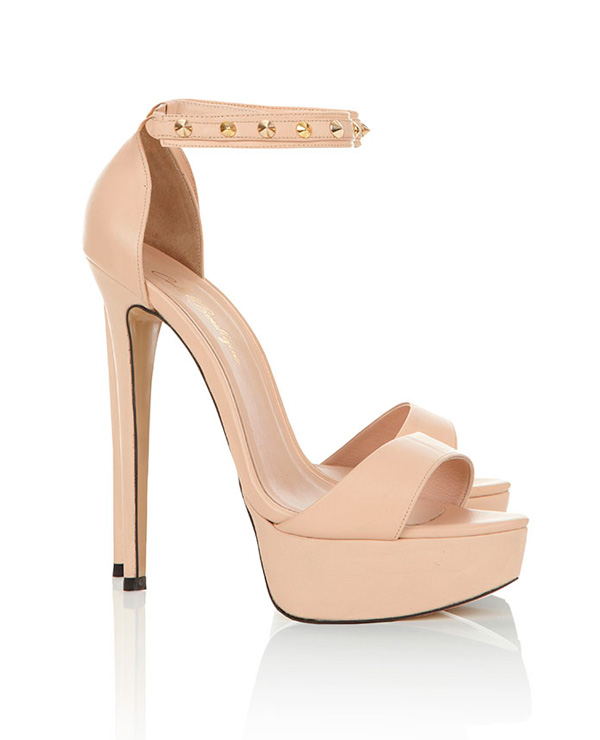 Shoes : Heels : &39Tamar&39 Nude Studded Real Leather Heels