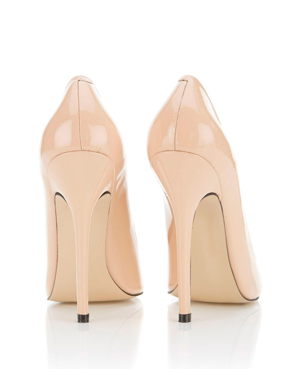 Shoes : &39Paris&39 Patent Leather Nude Pointed Toe High Heel Pump