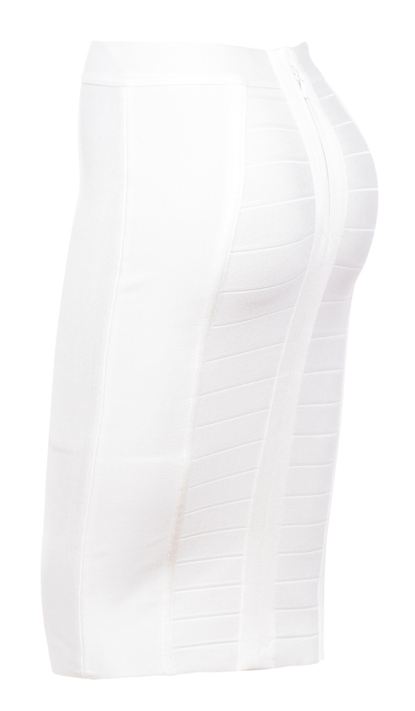 Clothing : Skirts : 'Sorcha' White Knee Length Bandage Pencil Skirt