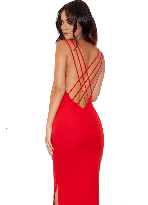 clothing : max dresses : 'pabla' red crepe low back maxi dress