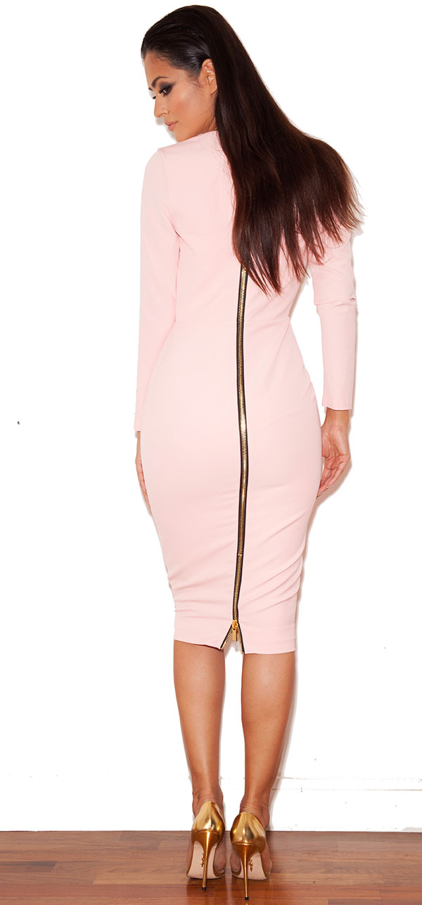 Clothing : Pencil Dresses : &39Dominique&39 Pale Pink Long Sleeved ...