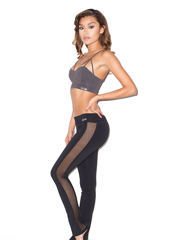 Work-Out Wear : 'Devi' Black Lycra and Mesh Long Workout Yoga Pants