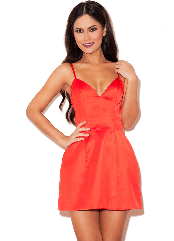 Luigia&-39- Red Satin Bralet Tulip Dress