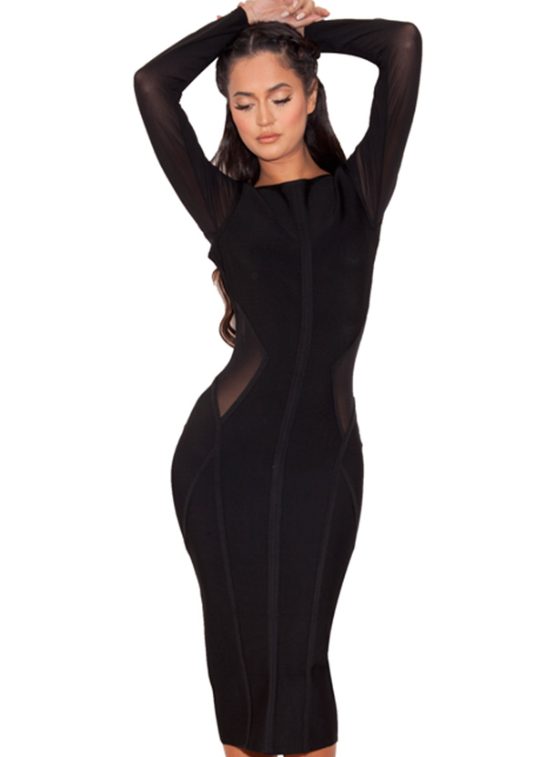 daa5482fe04 Houseofcb Nenah Black Midi Length Bandage and Mesh Dress - House Of CB