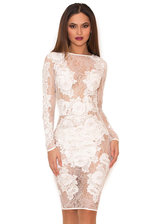 Clothing : Glamour Dresses : &39Nolita&39 White Stretch Lace Long ...