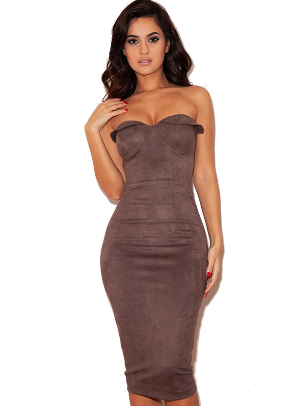 Clothing : Bodycon Dresses : 'Pia' Taupe Suedette Strapless ...