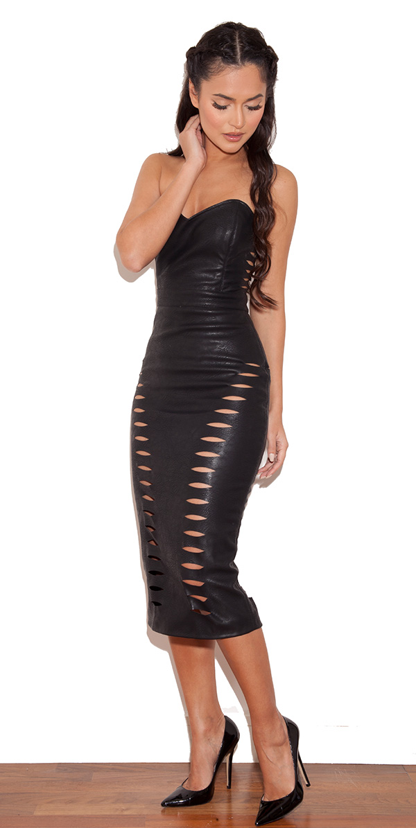 Clothing : Pencil Dresses : &39Riko&39 Black Leatherette Cut Out ...