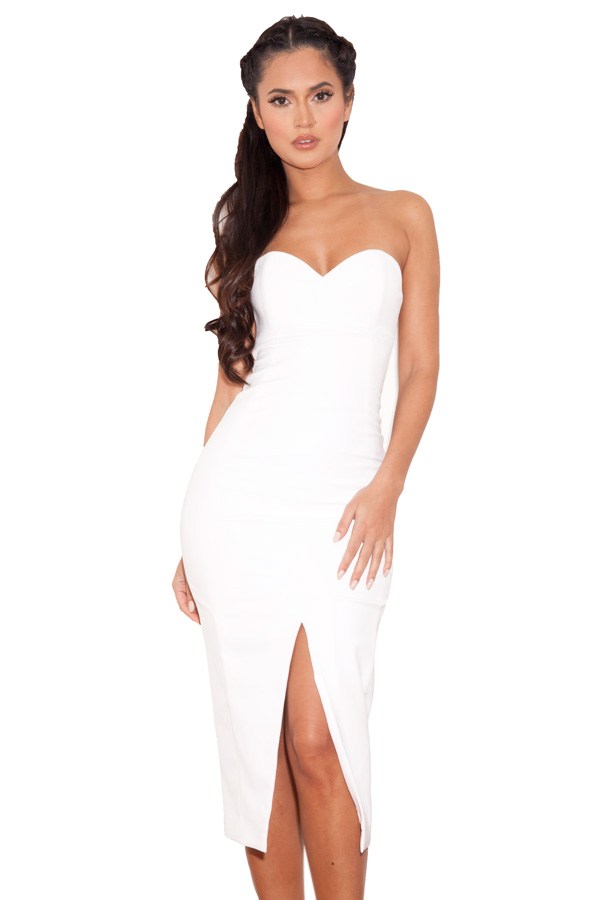 Clothing : Strapless Dresses : &-39-Albina&-39- White Strapless Stretch ...