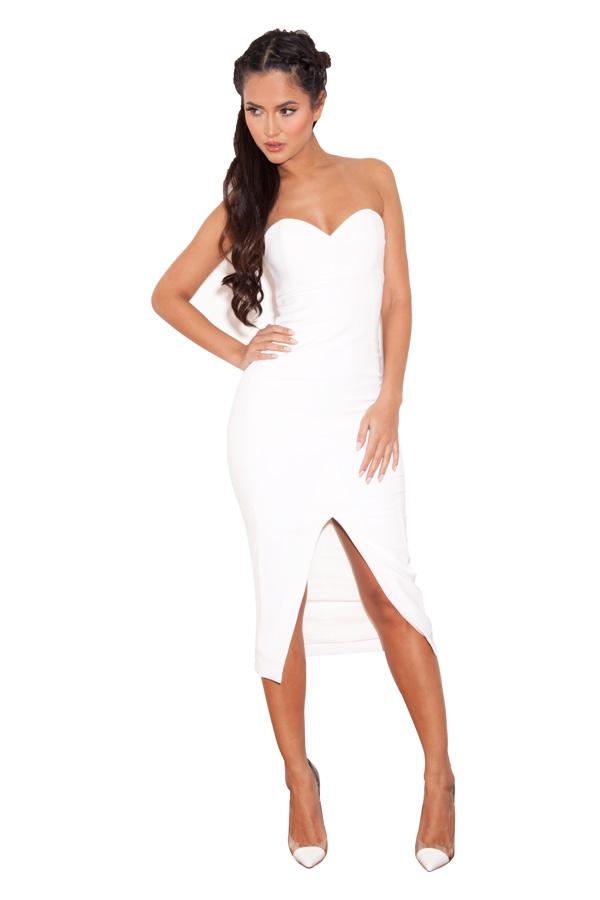 Clothing : Strapless Dresses : &-39-Albina&-39- White Strapless Stretch ...