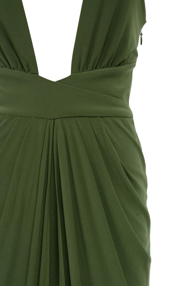 Clothing : Max Dresses : &39Crista&39 Khaki Silky Jersey Maxi Dress