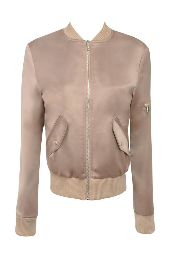 Clothing : Jackets : &39Dena&39 Rose Gold Satin Bomber Jacket