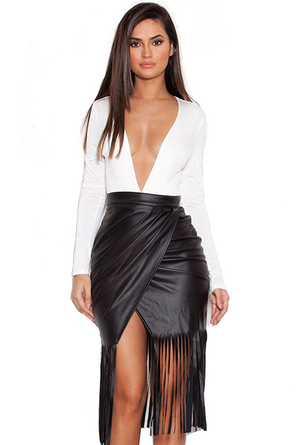 Clothing : Skirts : 'Nicasia' Black Vegan Leather Fringed Wrap Skirt