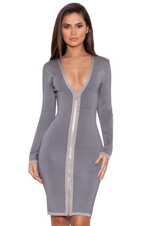 Clothing : Bandage Dresses : 'Araja' Grey Long Sleeve Bandage Dress