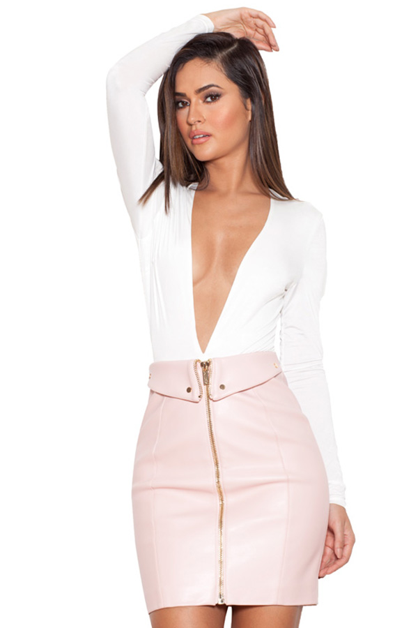 Clothing : Skirts : 'Ava' Blush Pink Vegan Leather Mini Skirt