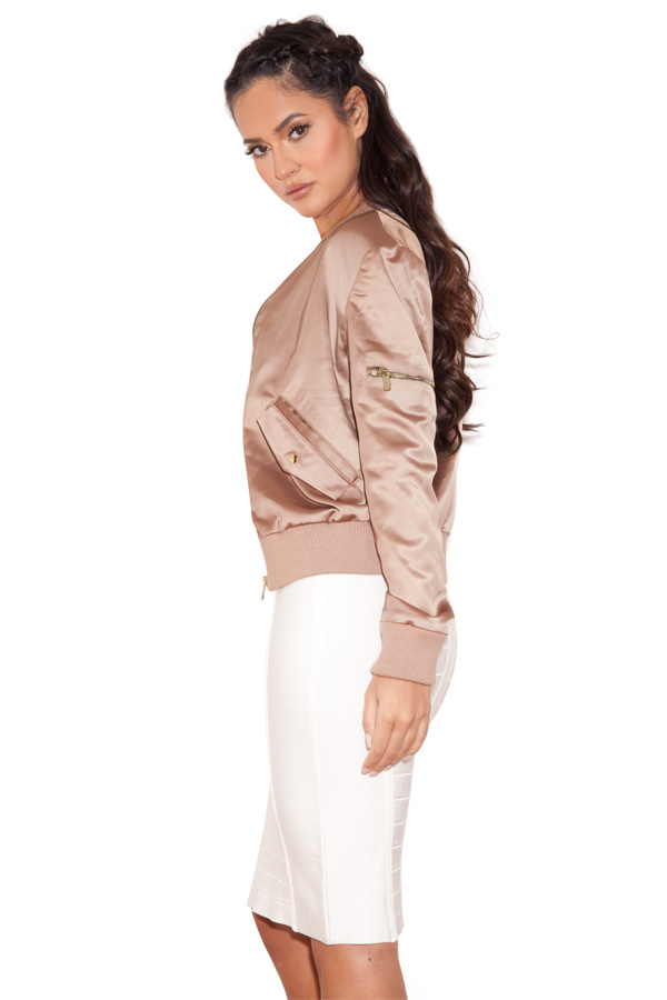 Clothing : Jackets : &39Dena&39 Rose Gold Satin Bomber Jacket