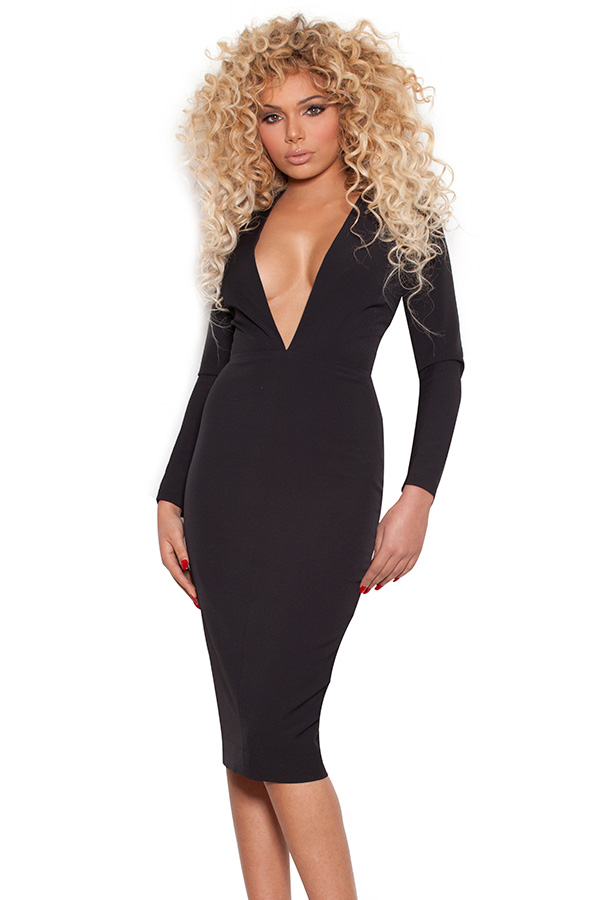 Clothing : Pencil Dresses : 'Dominique' Black Long Sleeved Deep V ...