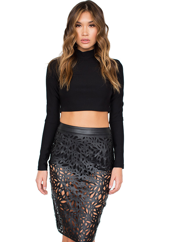 Real leather black pencil skirt – Fashion clothes in USA photo blog