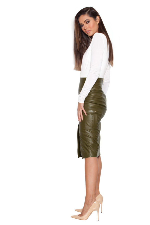 Clothing : Skirts : 'Federica' Olive Vegan Leather Military Pencil ...
