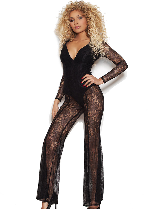 Clothing : Jumpsuits : 'Arietta' Black Sheer Lace Jumpsuit with Deep V