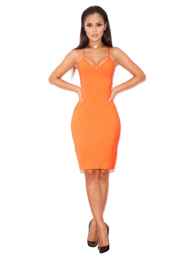 Clothing : Bodycon Dresses : 'Letizia' Neon Orange Stretch Crepe ...