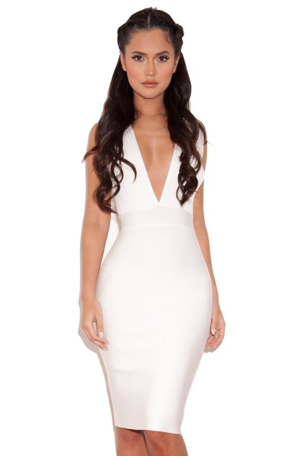 clothing bandage dresses 39 maxen 39 white deep v bandage dress. Black Bedroom Furniture Sets. Home Design Ideas