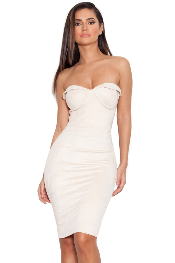 Clothing : Bodycon Dresses : 'Pia' Ecru Suedette Strapless Bodycon ...