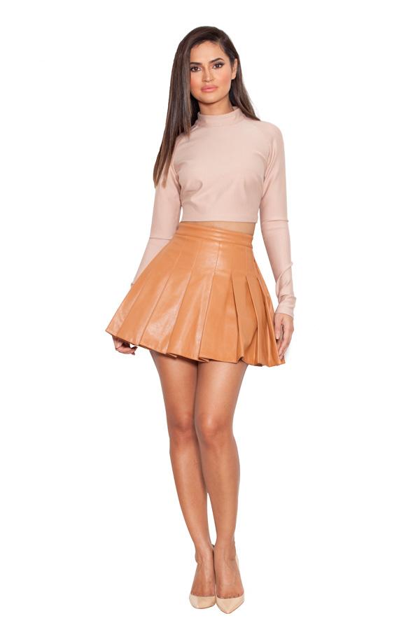 Clothing : Skirts : 'Teo' Tan Vegan Leather Skater Skirt