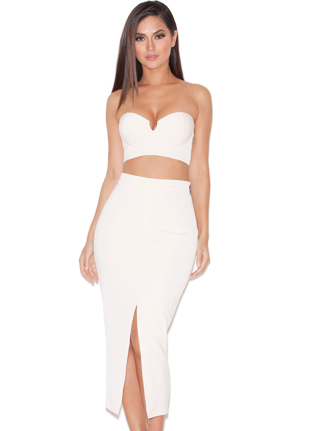 'Caspiana' Blush Crepe Bustier Two Piece