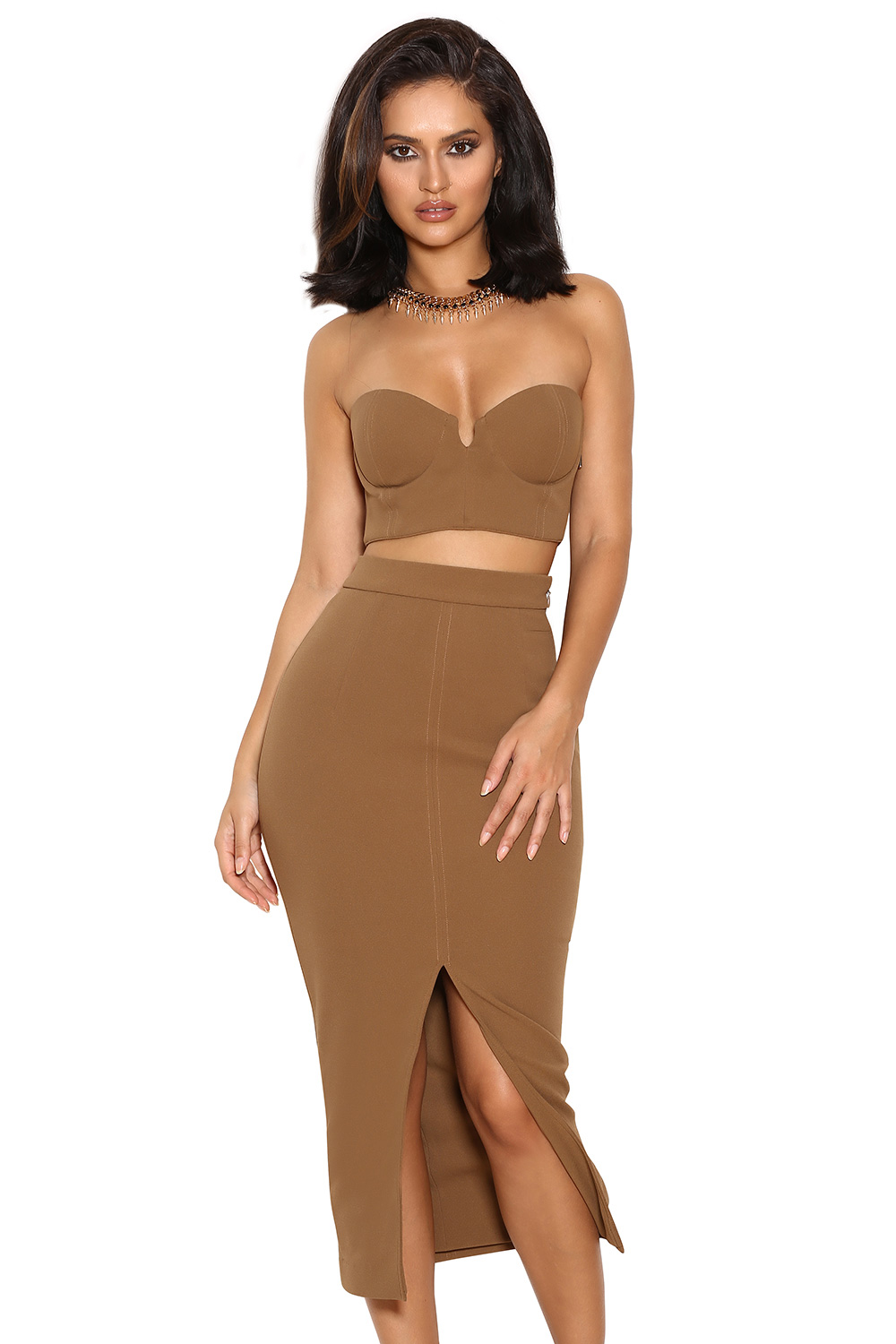 39 clothing 2 pieces 39 caspiana 39 camel crepe bustier two piece. Black Bedroom Furniture Sets. Home Design Ideas