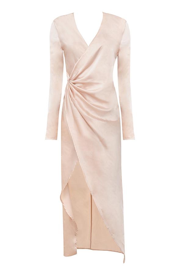 Champagne satin maxi dress