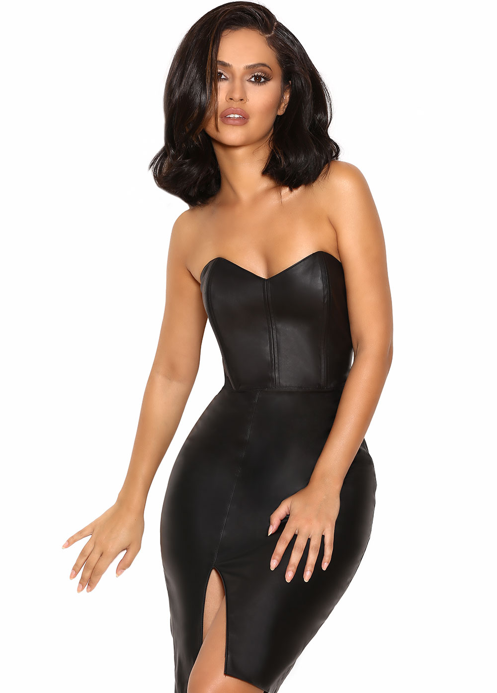 Clothing : Bodycon Dresses : &39Enrica&39 Black Vegan Leather ...